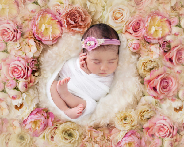 Photograph of Newborn Amelia using photo prop of flower nest